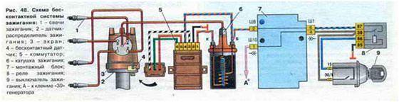Схема бесконтактной системы зажигания