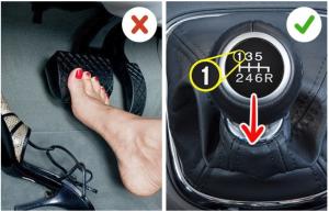 Слева: нога на тормозе; справа: первая передача на КПП