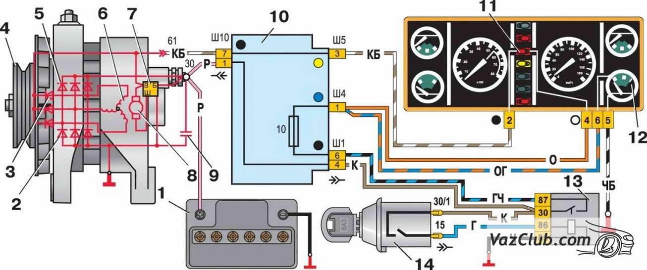 Схема электрооборудования автомобиля ВАЗ2107